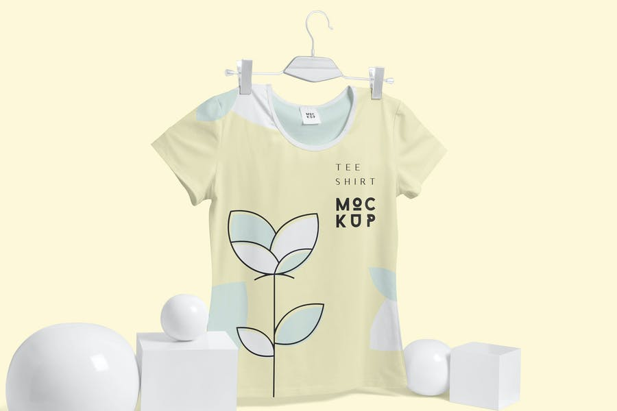 Broad Neck Half Sleeves T-Shirt Mockups