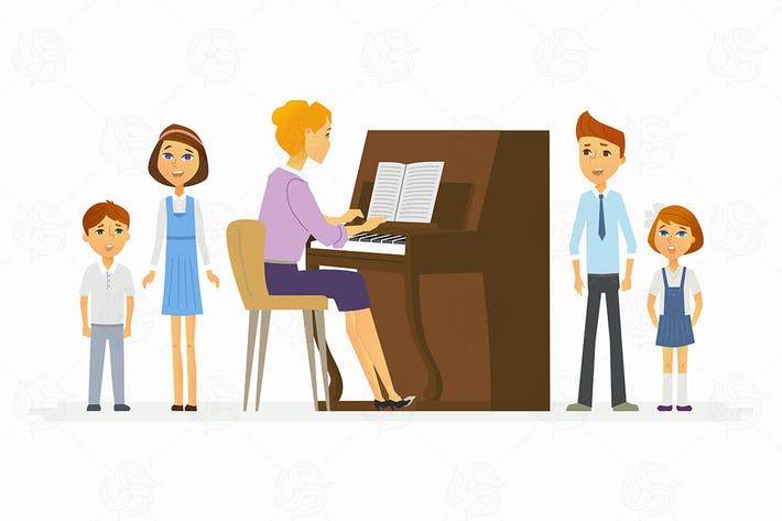 Music lesson at school - vector illustration
