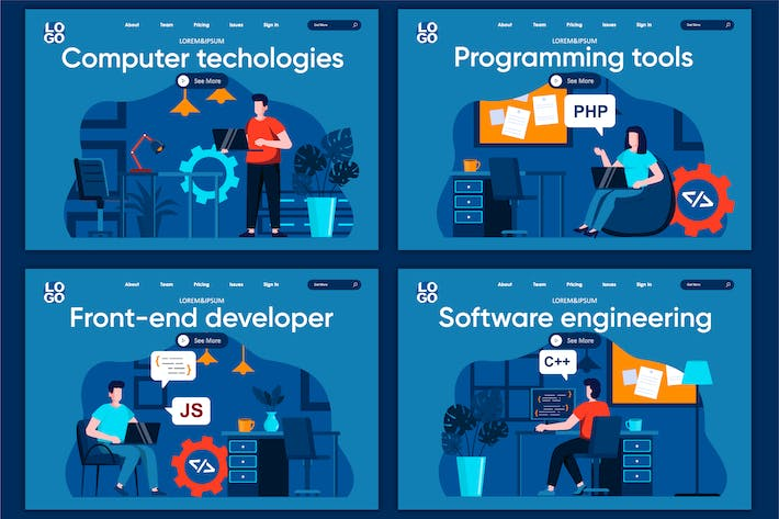 Thumbnail for Programming Flat Concept Landing Page Template