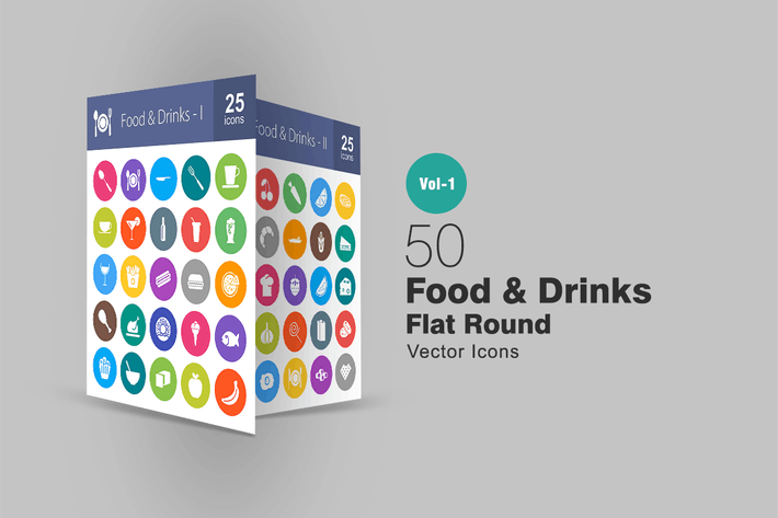 Cover Image For 50 Food & Drinks Flat Round Icons