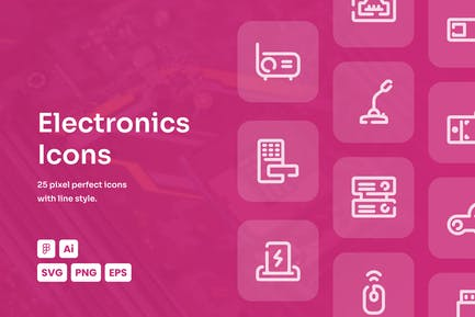 Electronic Dashed Line Icons