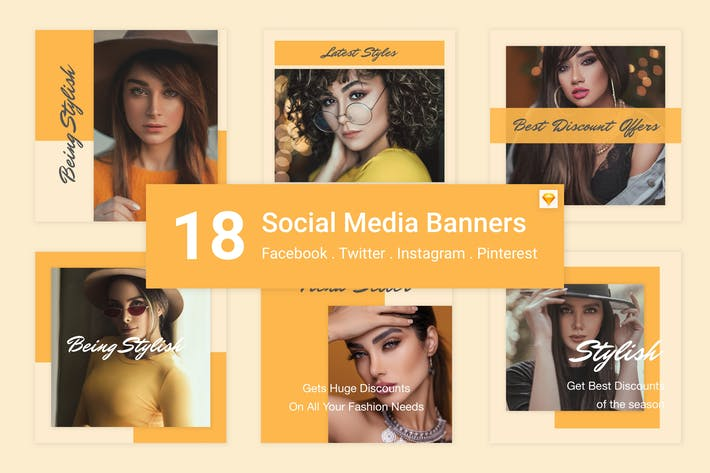 Thumbnail for 18 Social Media Banners Kit (Vol. 3) for Sketch