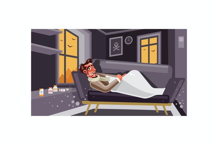 Thumbnail for Sick man lying on sofa at home Illustration