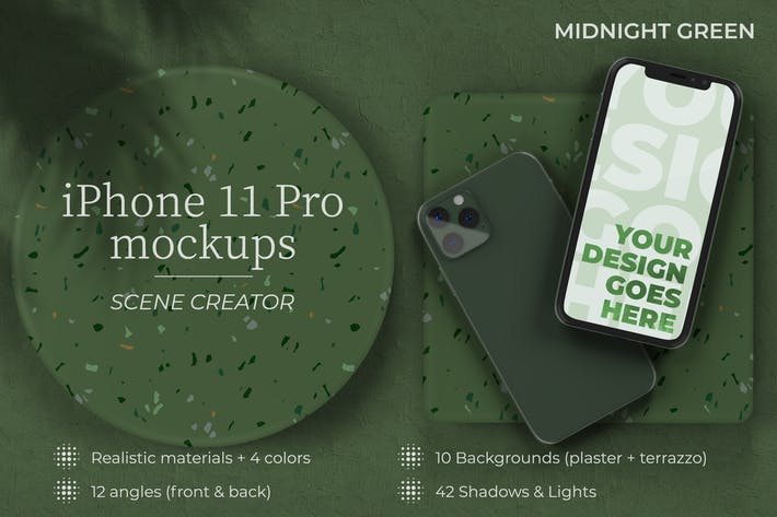 Thumbnail for iPhone 11 Pro - Mockup Creator with Shadows