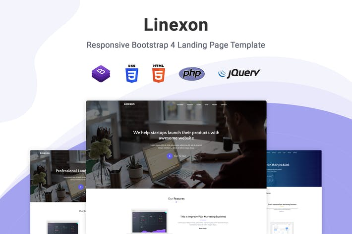 Thumbnail for Linexon - Bootstrap 4 Landing Page Template