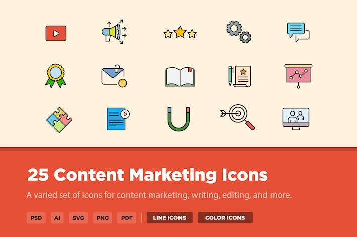 Thumbnail for 25 Content Marketing Icons