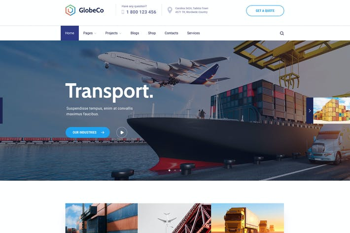 Thumbnail for GlobeCo - Transportation & Logistics WordPress The