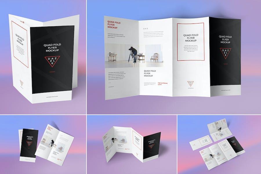 4 Fold Brochure Mockups