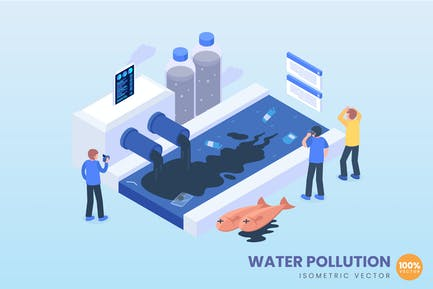 isometric Water Pollution Concept