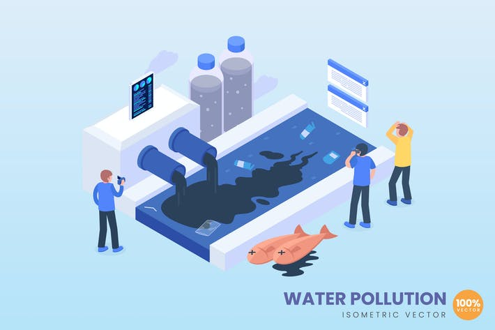 Thumbnail for isometric Water Pollution Concept