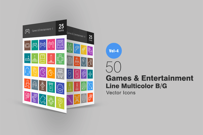 Thumbnail for 50 Games & Entertainment Line Multicolor Icons