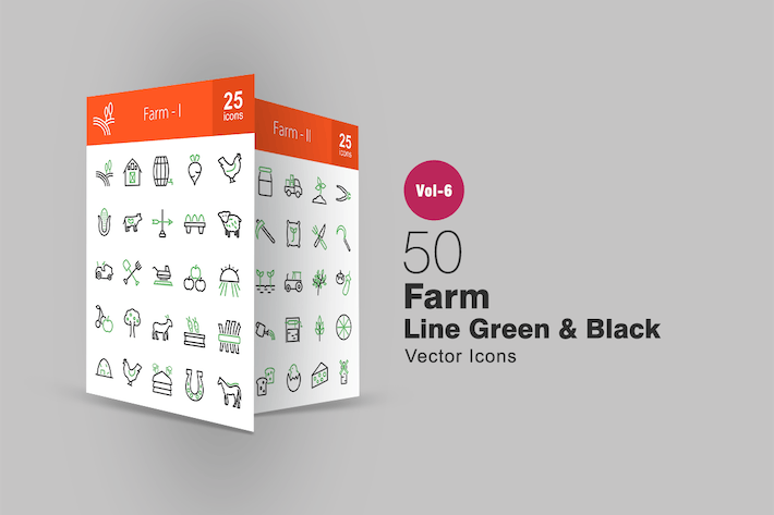 Thumbnail for 50 Farm Green & Black Line Icons