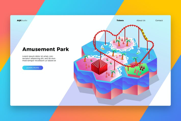 Thumbnail for Amusement Park- Banner & Landing Page