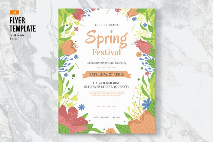 Cover Image For Spring Flowers Flyer Template II
