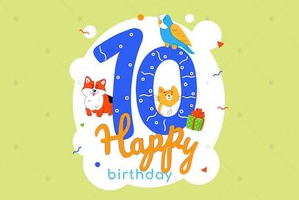 Tarjeta de felicitación de 10 cumpleaños para niños.