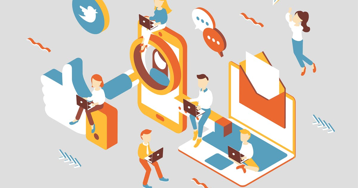 Download Social Media Isometric Illustration by angelbi88