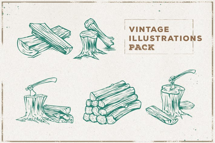 Thumbnail for Vintage Wood & Axe Illustration Pack