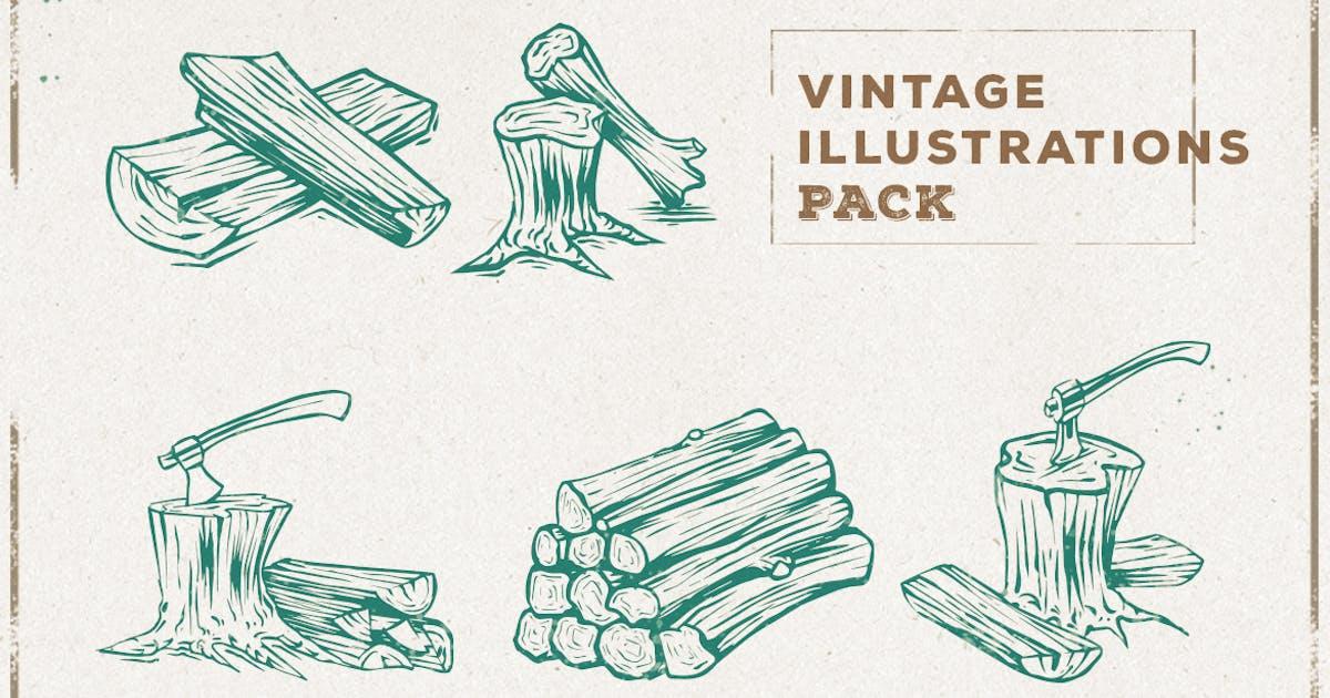 Download Vintage Wood & Axe Illustration Pack by ovozdigital