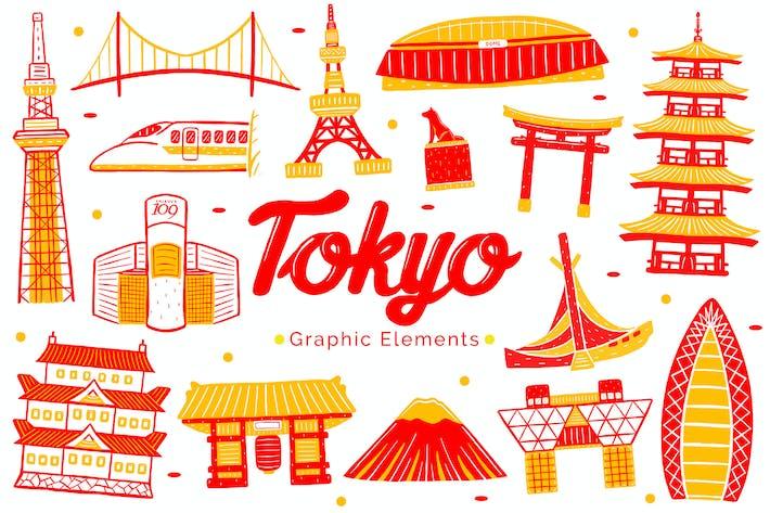Thumbnail for Tokyo Wahrzeichen grafische Elemente