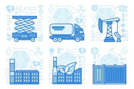 UX Illustrationen für ökologische Fabriken