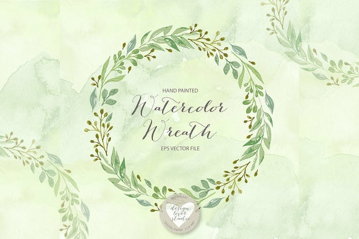 Thumbnail for Green leaves wreath vector