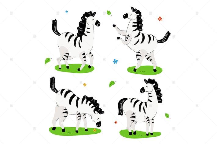 Thumbnail for Cute Zebra - Satz von Zeichentrickfiguren