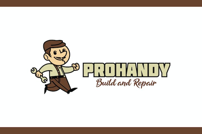 Thumbnail for Retro Cartoon Handyman Mascot Character Logo