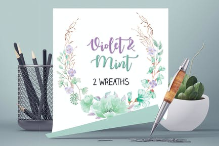 Violet and Mint Watercolor Wreaths