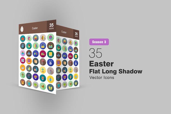 Thumbnail for 35 Easter Flat Long Shadow Icons Season III