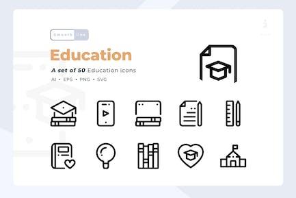 Smoothline - 50 Education icon set