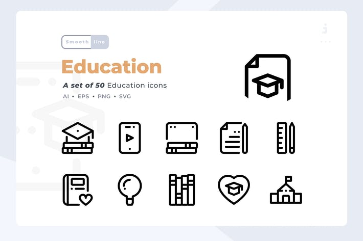 Thumbnail for Smoothline - 50 Education icon set