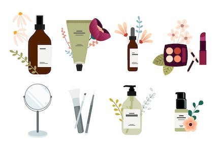 Set of Cosmetics Packaging and Accessories