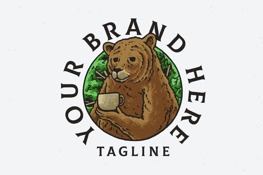conception d'illustration d'ours de café