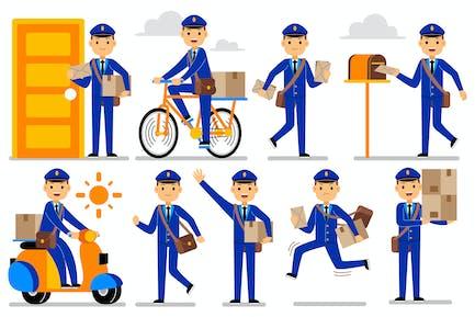 Postman Profession Characters Set