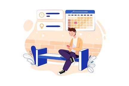 Persona que reserva una reunión con hora y lugar