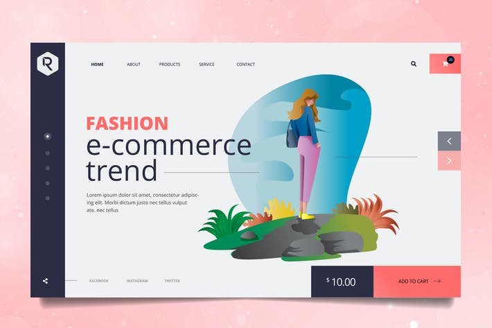 Thumbnail for Fashion Trend Web Header PSD & Vector Template