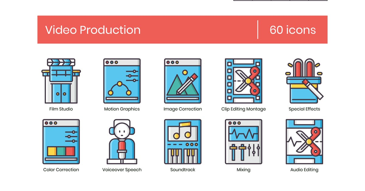 60 Video Production Icons   Groovy Series by Krafted
