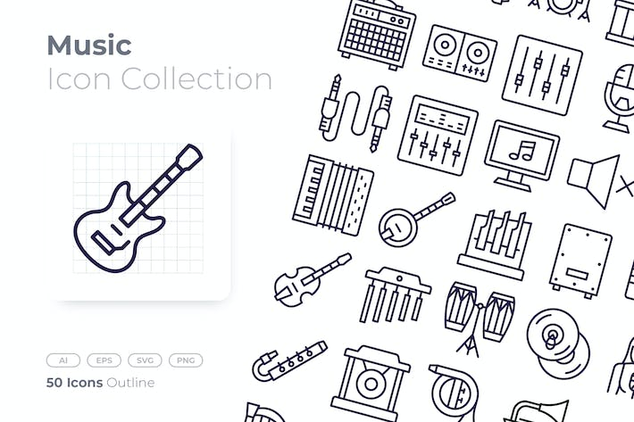Thumbnail for Music Outline Icon