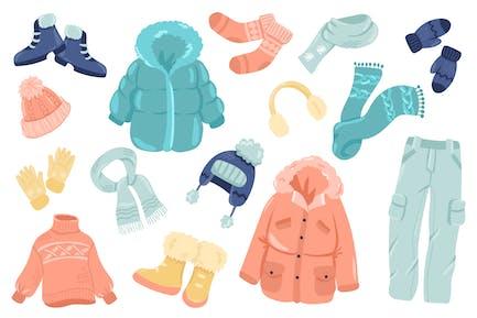 Conjunto de elementos aislados de ropa de invierno