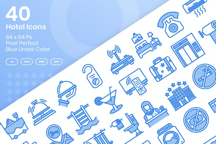 Thumbnail for 40 Hotel Icons Set - Blue Lineal Color