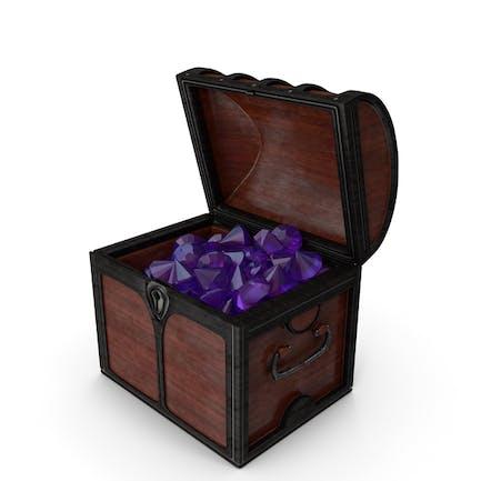 Pequeño cofre de madera con enormes gemas de amatista