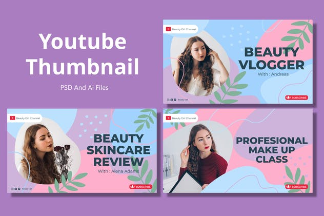 Beauty Organic – Youtube Thumbnail Template Pack