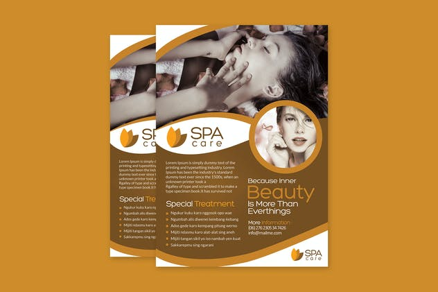Beauty Care Spa Flyer Template