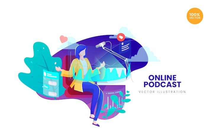 Thumbnail for Online Podcast Vector Illustration Concept