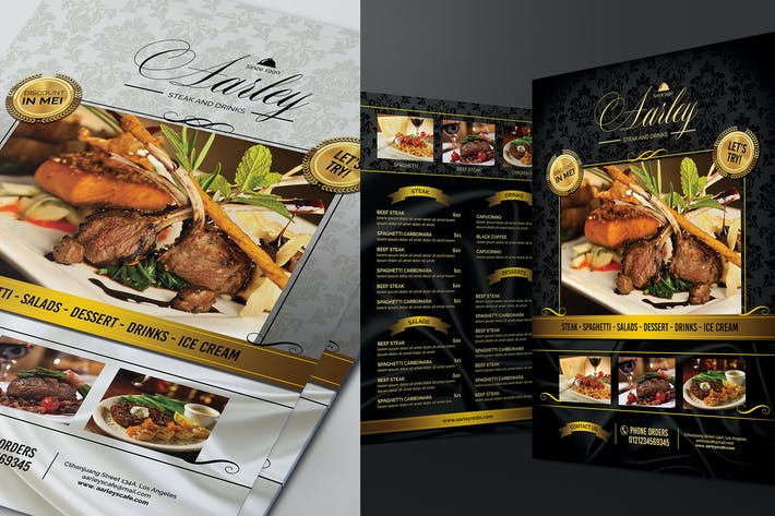 Thumbnail for Elegant Black & White Restaurant Menu