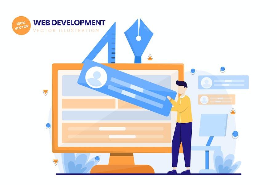 Webentwicklung Flat Vektor Illustration