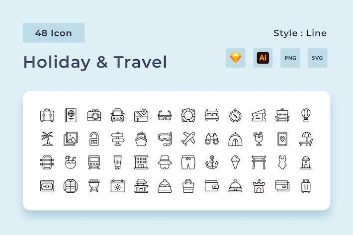 Paquete de iconos de estilo de línea de vacaciones y viajes