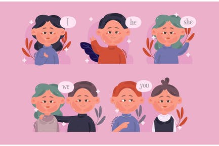 English Pronouns Illustration
