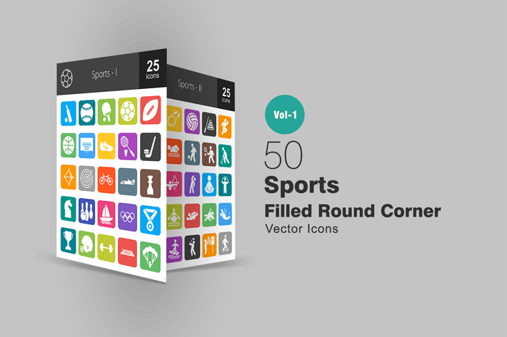 50 Sports Filled Round Corner Icons