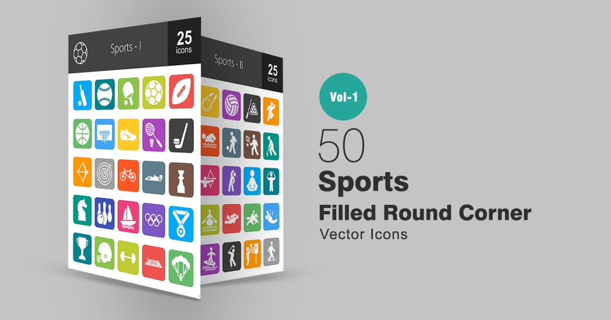 Download 50 Sports Filled Round Corner Icons by Unknow